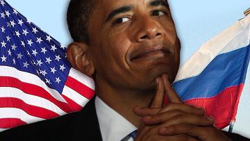 Барак Обама флаги россии и сша