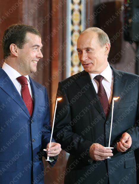 Президент РФ на Пасхальном богослужении в храме Христа Спасителя