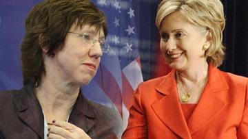 Верховный представитель ЕС по внешней политике и безопасности Кэтрин Эштон и оссекретарь США Хиллари Клинтон