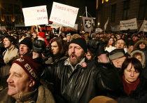 Акция протеста оппозиции в столице Латвии