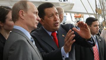 """Владимир Путин и Уго Чавес посетили барк """"Крузенштерн"""""""