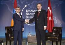Президент Армении Серж Саргсян на встрече с премьер-министром Турции Реджепом Тайипом Эрдоганом