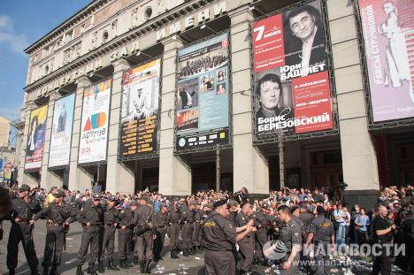 Кордон милиции на Триумфальной площади в Москве