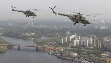 Репетиция вертолетных групп к Параду Победы