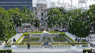 Мирная церемония в Хиросиме, посвещенная годовщине атомной бомбардировки в августе 1945 года