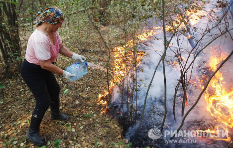 Тушение лесного пожара в Московской области