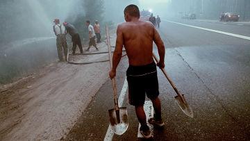 Тушение лесного пожара вблизи поселка Креуша