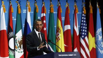 """президент сша барак обама во время саммита """"Большой двадцатки"""" в Сеуле"""