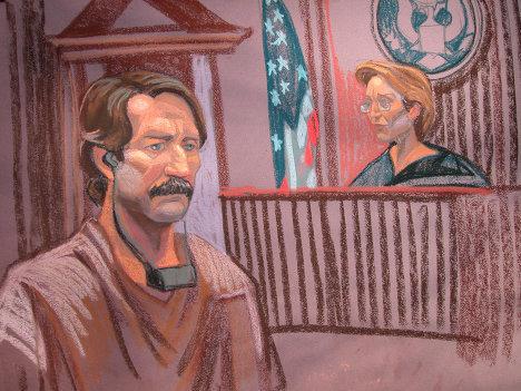 Виктор Бут на заседании суда в Нью-Йорке. Рисунок из зала суда.