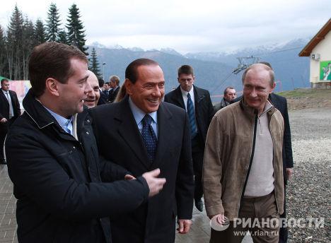 Д.Медведев, В.Путин и С.Берлускони