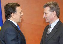 председатель Еврокомиссии Жозе Мануэл Баррозу и его комиссар по энергетике Гюнтер Эттингер