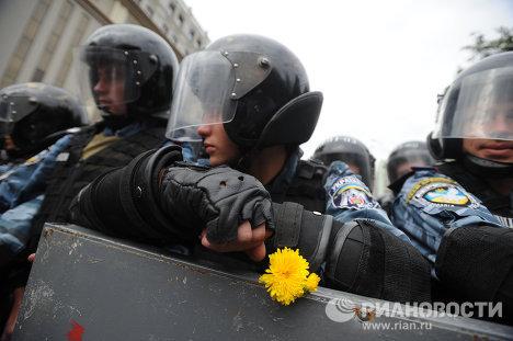 Митинг протеста оппозиции в Киеве в День Независимости Украины
