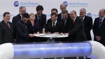 """Лидеры РФ, Германии, Франции и Голландии дали старт """"Северному потоку"""""""