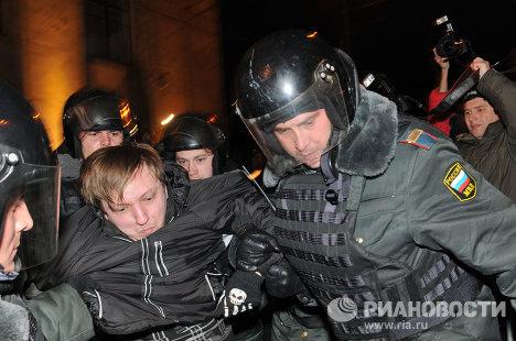 Задержание участников несанкционированной акции оппозиции
