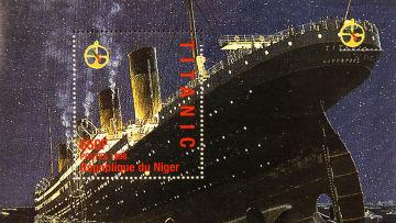 """Памятная марка, выпущенная в Республике Нигер по случаю годовщины катастрофы """"Титаника"""""""