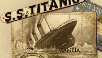 """Памятная марка, выпущенная в Гамбии по случаю годовщины катастрофы """"Титаника"""""""