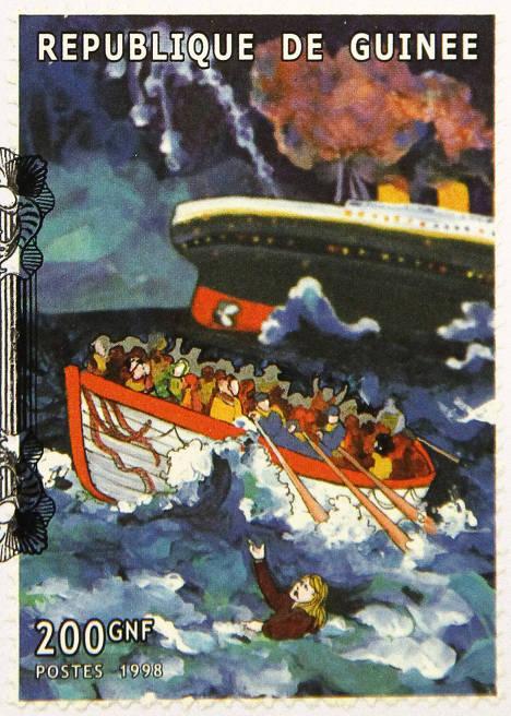 """Памятная марка, выпущенная в Гвинее по случаю годовщины катастрофы """"Титаника"""""""