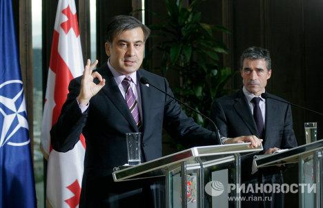 Михаил Саакашвили и Андерс Фог Расмуссен