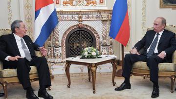 Встреча В.Путина с Р.Кастро в Ново-Огарево