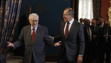 Спецпосланник ООН и ЛАГ Лахдар Брахими и Сергей Лавров