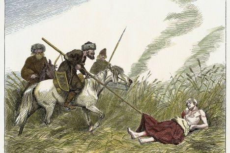 Клейст падает при Кунерсдорфе. Гравюра по рисунку Эмиля Хюнтена (1827 -1902)