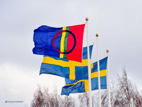 Флаги народа саами и Швеции