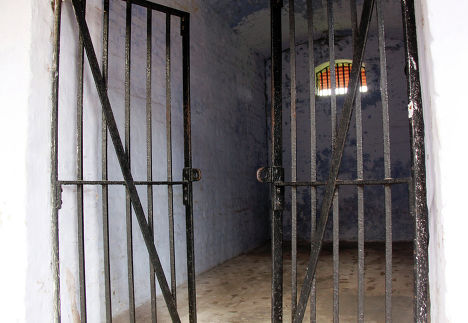 Камера-одиночка в Сотовой Тюрьме в городе Порт-Блэр