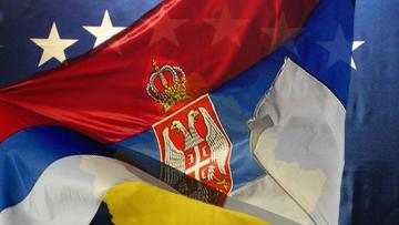 Флаги Косово и Сербии