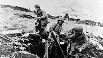 Американские солдаты в битве за Атту, 1943 год