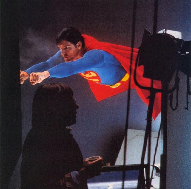 На съемках фильма «Супермен»