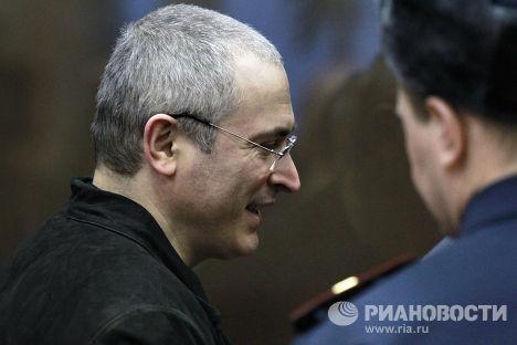 Экс-глава ЮКОСа Михаил Ходорковский перед началом оглашения приговора на заседании Хамовнического суда
