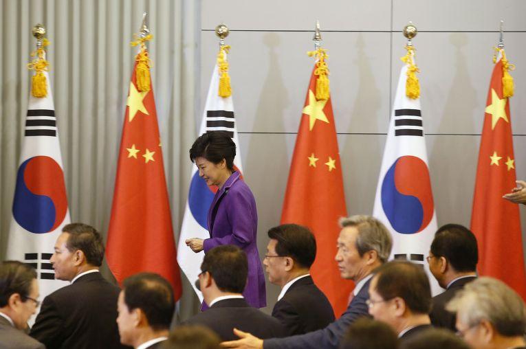 Президент Южной Кореи Пак Кын Хе во время визита в Китай