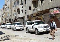 Колонна машин с инспекторами ООН по химическому оружию в Дамаске