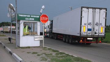 На таможенно-пропускном пункте на границе с Белоруссией