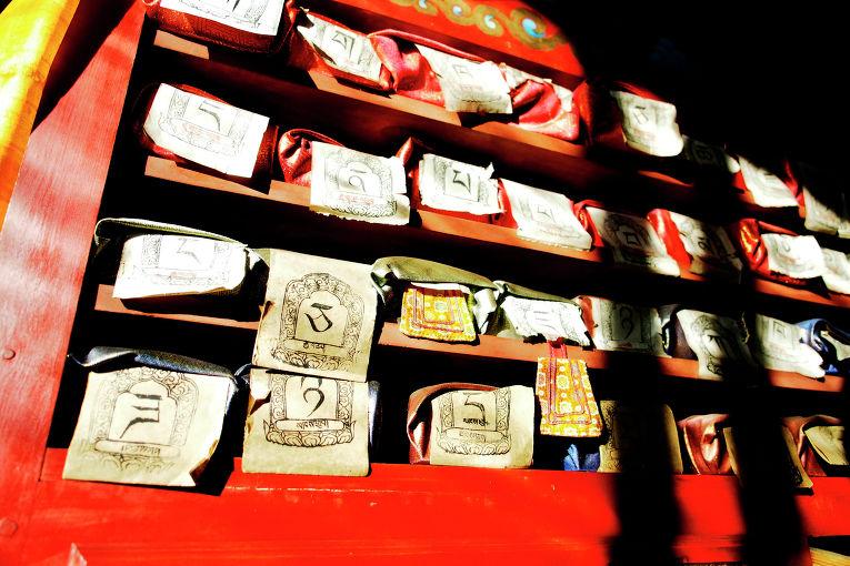 Библиотека в Деважен дуган, храме Будды Амитабы в Иволгинском дацане, буддийском монастырском комплексе