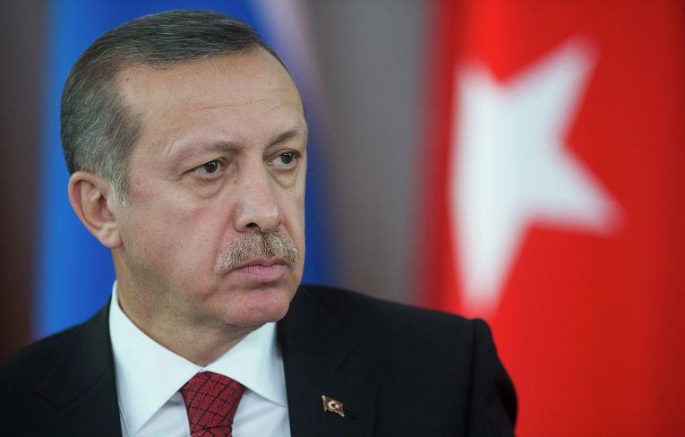 Премьер-министр Турции Реджеп Тайип Эрдоган во время совместной с президентом России Владимиром Путиным