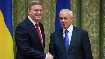 Втсреча еврокомиссара Ш.Фюле и премьера Украины Н.Азарова