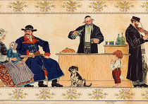 Гои в еврейской таверне, литография Г. Пиллати