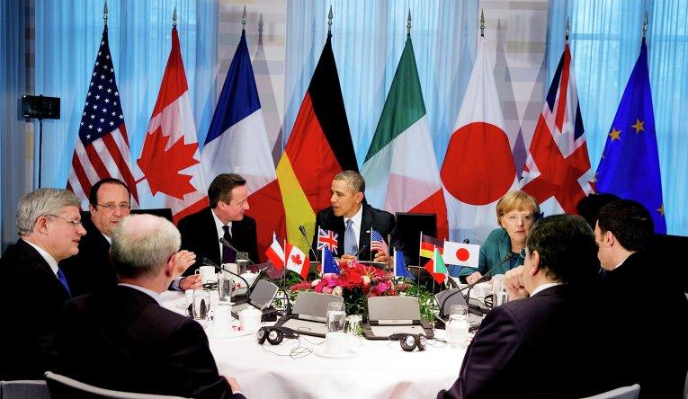 Заседание лидеров G7 в ходе саммита по ядерной безопасности в Гааге 24 марта 2014