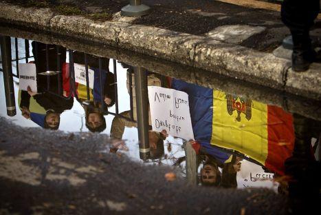 Студенты из Молдовы на антироссийской демонстрации в Бухаресте