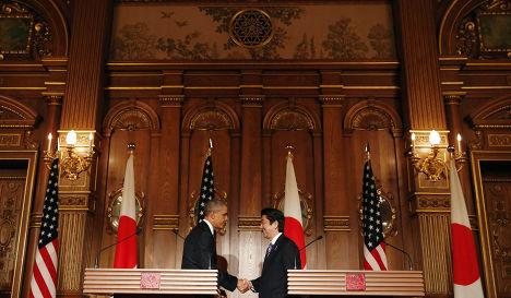 Пресс-конференция Барака Обамы и Синдзо Абэ