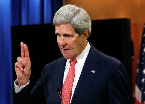 Государственный секретарь США Джон Керри во время брифинга в Вашингтоне. 25 апреля 2014