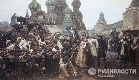 Репродукция картины В. Сурикова «Утро стрелецкой казни»