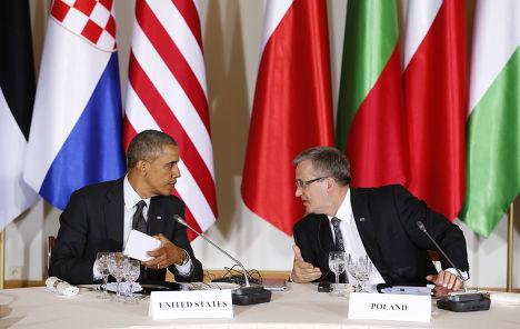 Барак Обама и Бронислав Коморовский на встрече в Варшаве