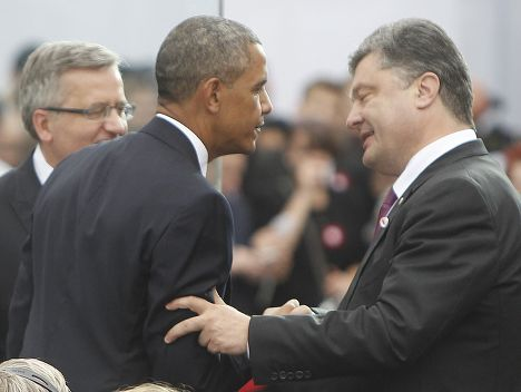 Барак Обама и Петр Порошенко на праздновании 25-летней годовщины первых парламентских выборов в Польше
