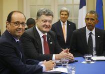 Барак Обама, Петр Порошенко и Франсуа Олланд на саммите НАТО в Уэльсе