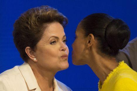 Президент Бразилии Дилма Русеф и кандидат в президенты Марина Силва