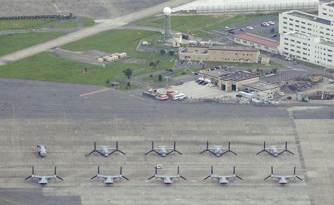 Конвертопланы Bell V-22 Osprey на американской авиабазе «Ивакуни» в Японии