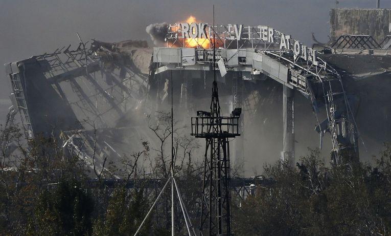 Главный терминал аэропорта Донецка, разрушенный во время боев между ополченцами и украинской армией