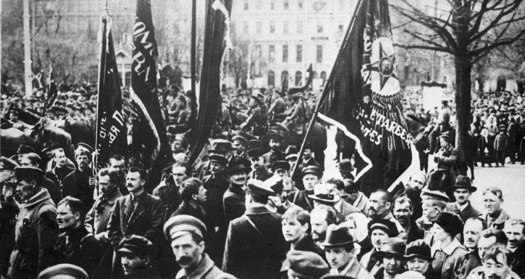 Демонстрация рабочих в Риге, 1919 год